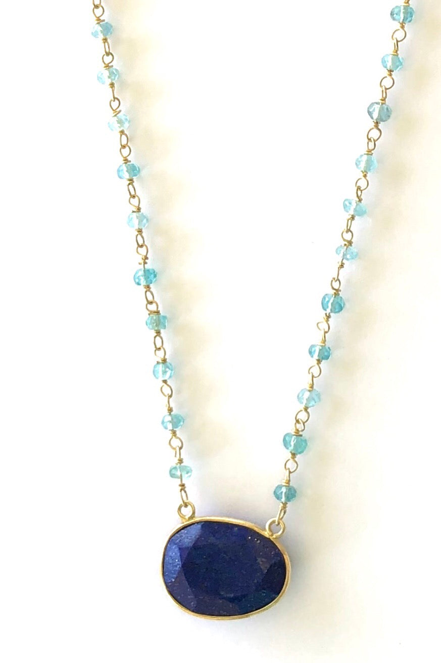 Oracle Venezia Necklace Oval Lapis Lazuli, Vintage bohemian inspired necklace features 50cm length Gold vermeil and fine turquoise beaded chain,  deep blue lapis lazuli pendant set in gold vermeil.