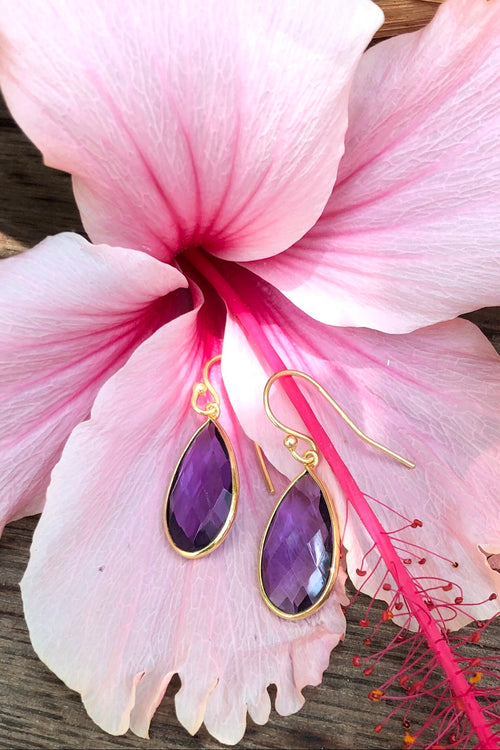 Oracle Earrings Golden Raindrops Amethyst