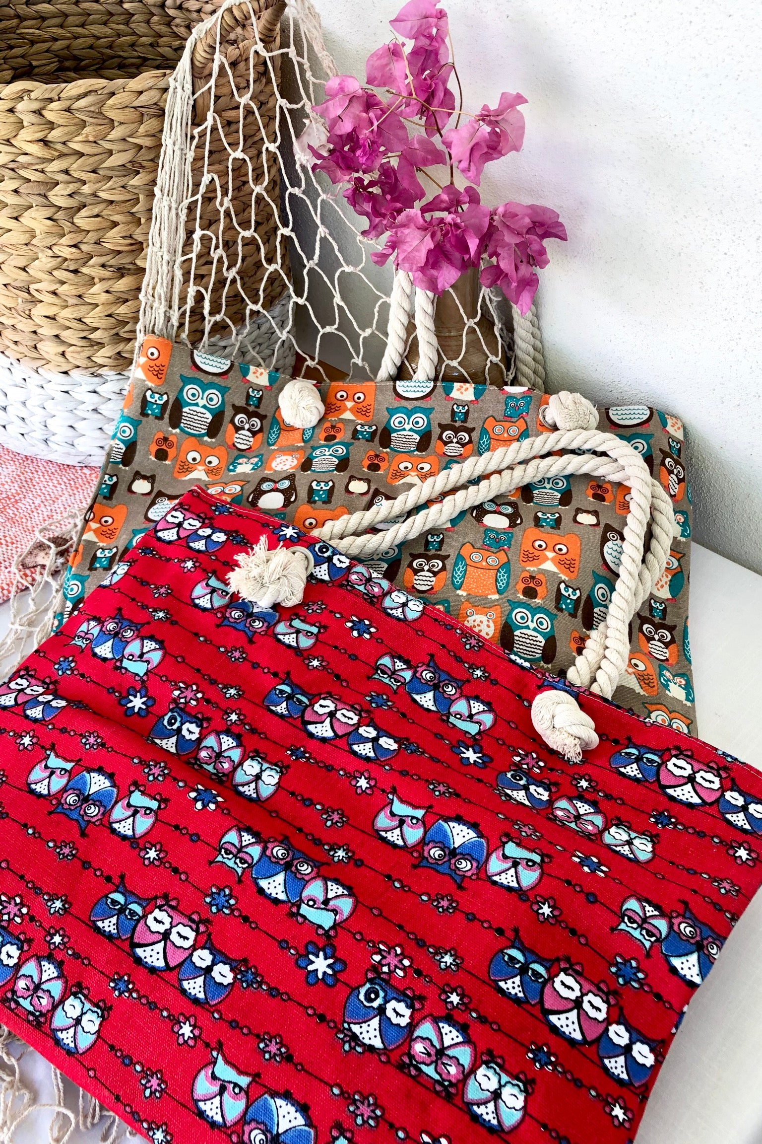 Yeah Canvas Beach Bag Owls in Red or Orange