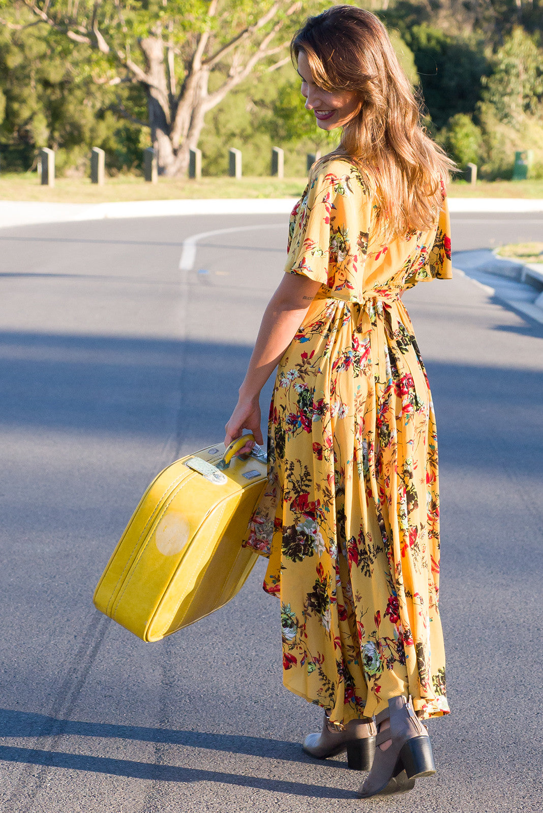 Golden yellow petal sleeved maxi wrap dress, floral print, wrap around dress, design exclusive to Mombasa Rose FAWN BLOOM WRAP DRESS - MUSTARD