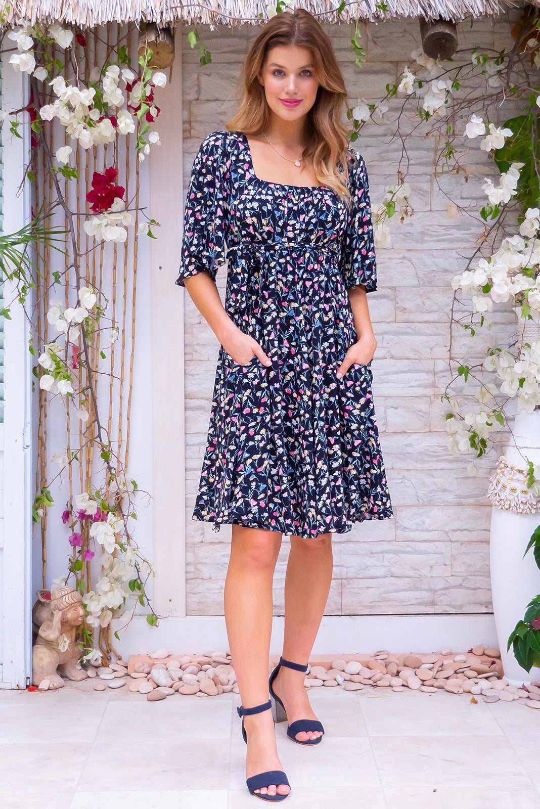 Canterbury Piana Noir Mini Dress, bohemian vintage inspired style, floral print, 3/4 sleeves, fabric tie belt, side pockets.