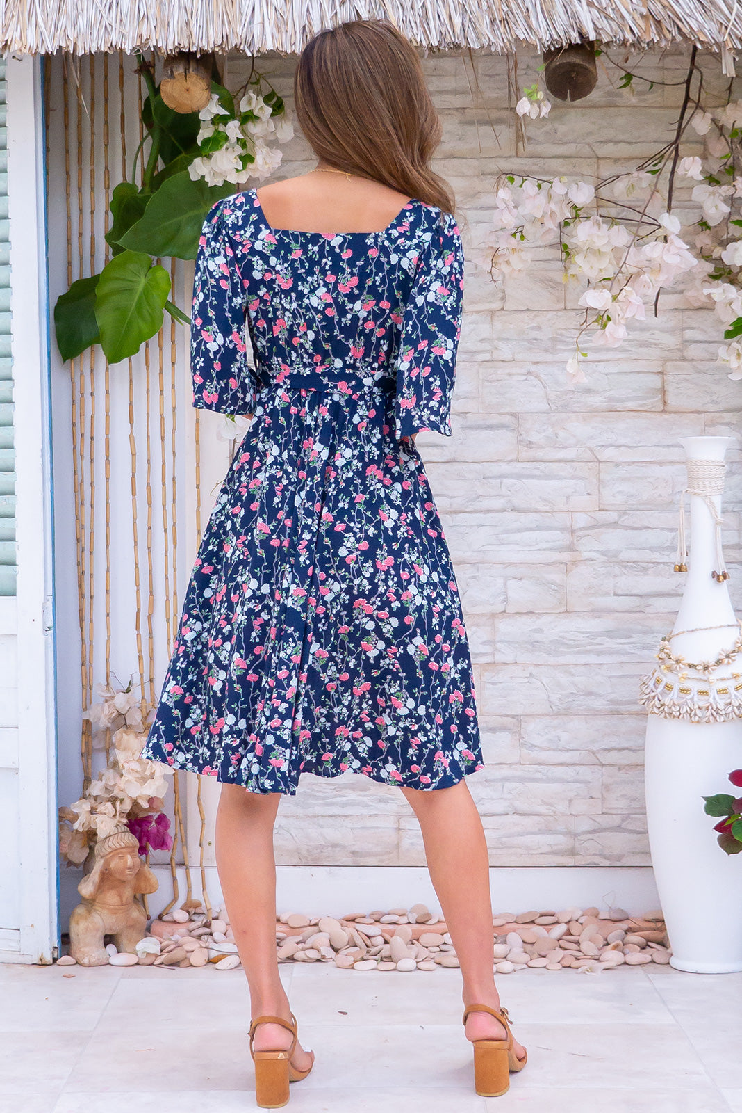 Canterbury Winsome Navy Dress milkmaid vintage retro inspired bohemian navy floral knee length dress with pockets made in rayon.