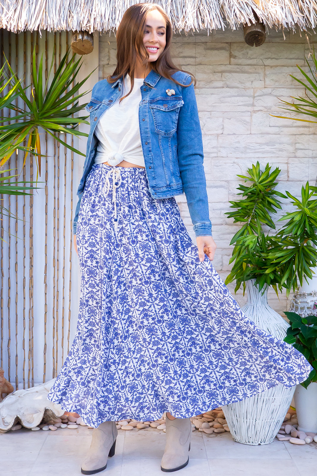 Catalina Skirt Corfu Blue bohemian inspired maxi skirt in a crinkle textured on a bright white and blue printed rayon.
