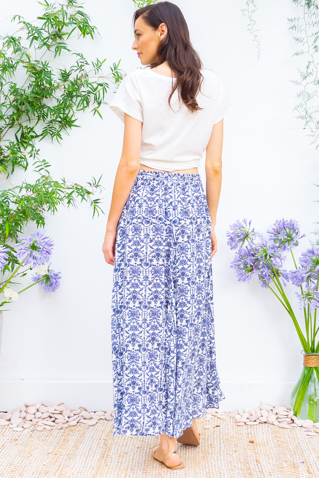 Catalina Skirt Corfu Blue bohemian inspired maxi skirt in a crinkle textured on a bright white and blue printed rayon
