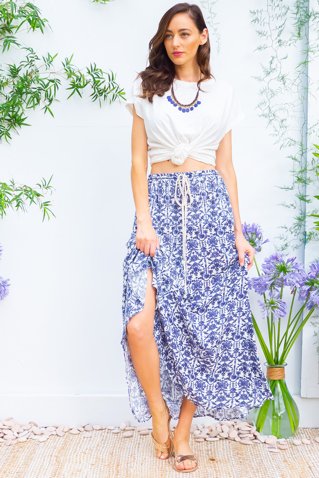 Catalina Corfu Blue Maxi Skirt