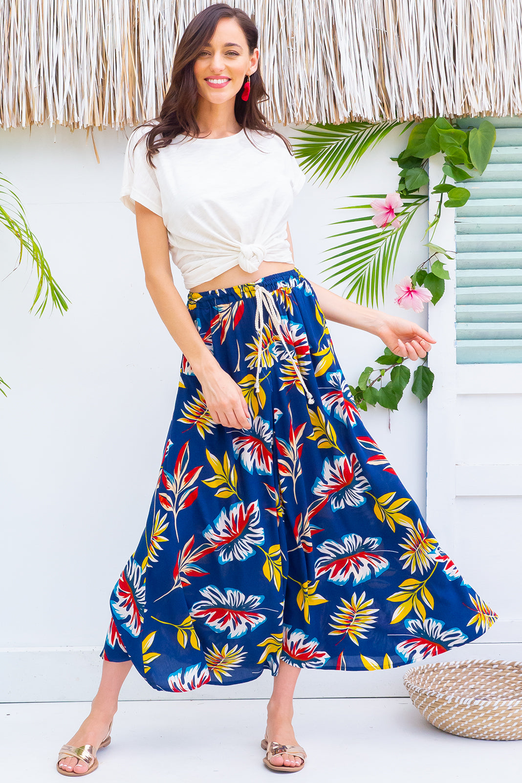 Catalina Inky Jungle Maxi Skirt with a elastic waist band and pockets in a gorgeous bright dark navy based tropical leaf print