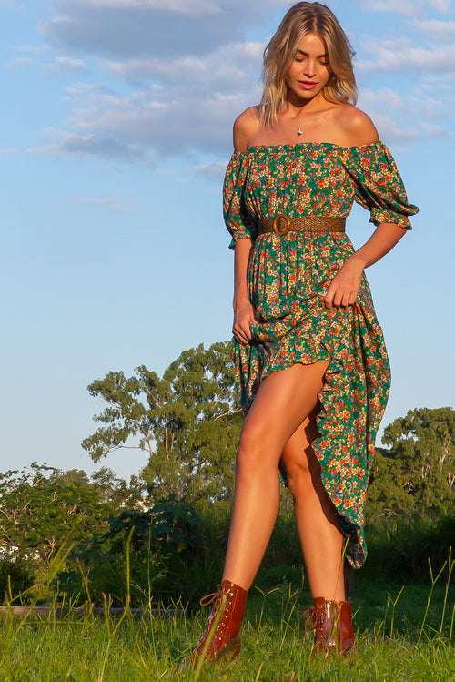 Cecelia Green Leaves Maxi Dress
