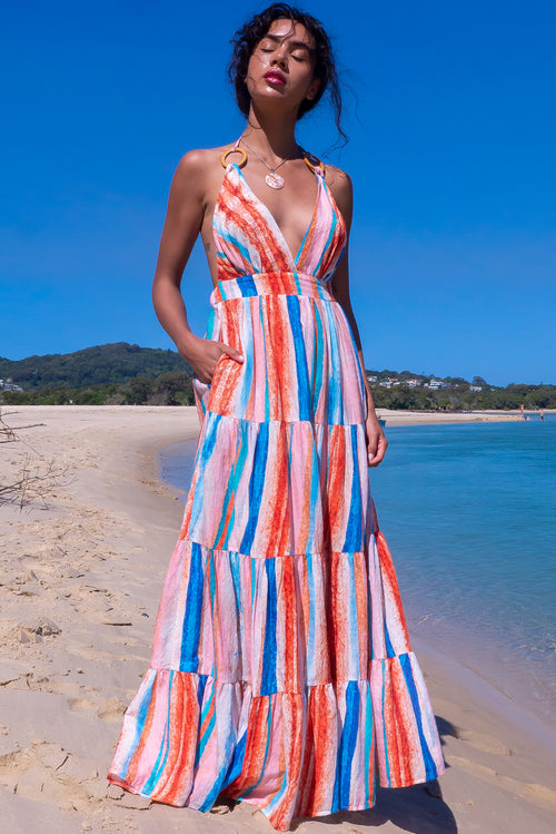 Charlie Sahara Stripes Maxi Dress