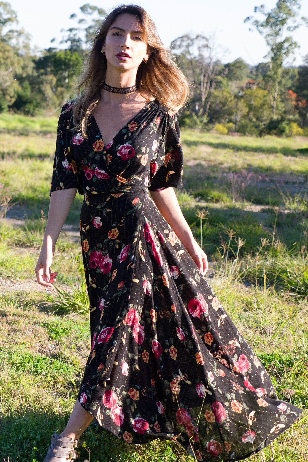Bohemian Wrap Dress in black and floral print with lurex stripe