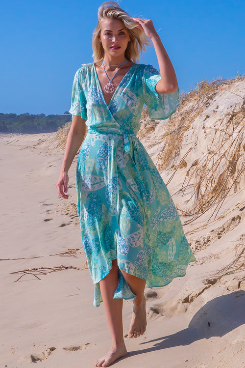 Cinnamon Aquamarine Maxi Wrap Dress