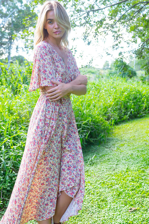 Cinnamon Vanilla Cream Maxi Wrap Dress