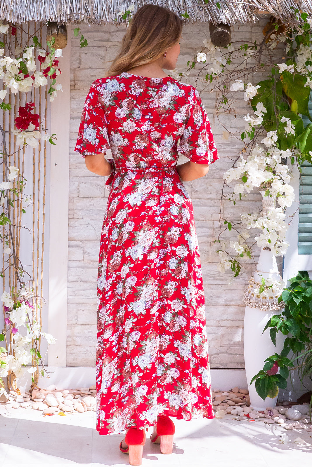 Cinnamon Amore Red Maxi Wrap Dress