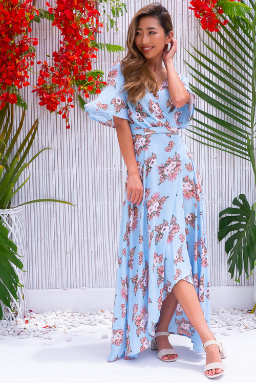 Cinnamon Bahama Skies Maxi Wrap Dress