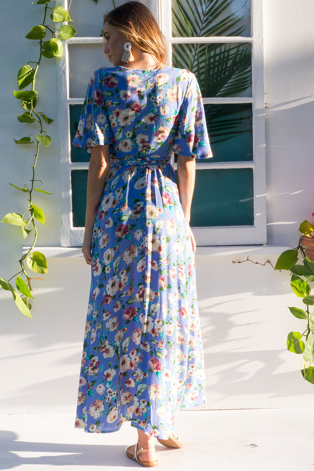 Cinnamon Ballyclare Blue Maxi Dress cornflower blue floral print on crinkle rayon and with a flutter sleeve