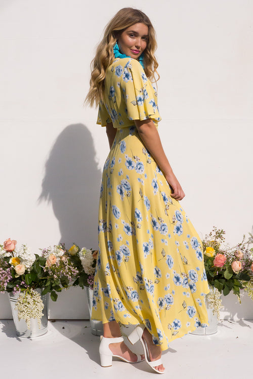 Cinnamon Dandelion Yellow Maxi Wrap Dress