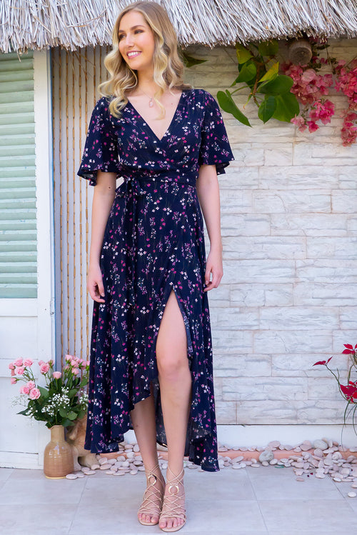 Cinnamon Navy Fields Maxi Wrap Dress