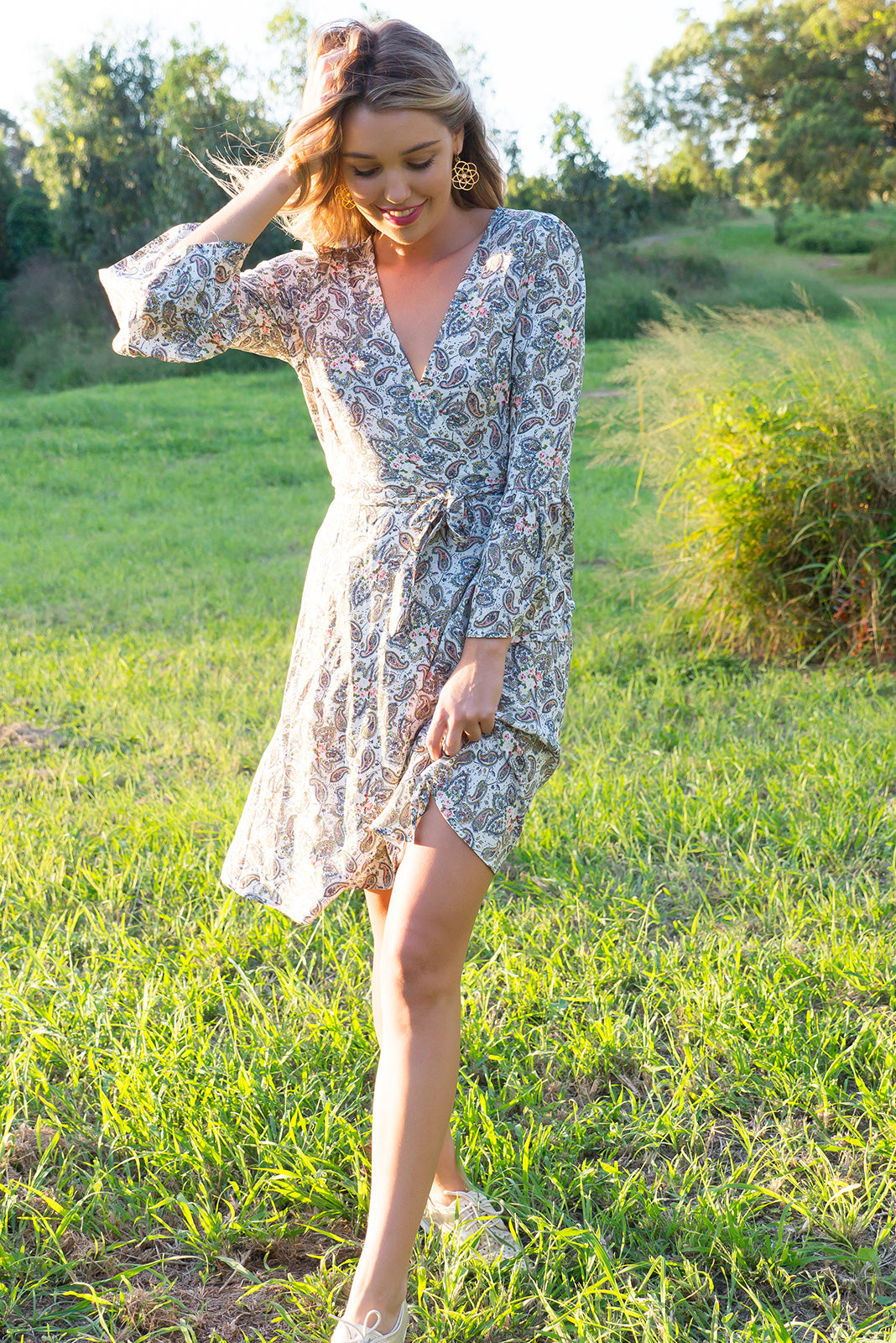 Claudia Wrap Dress Paisley White