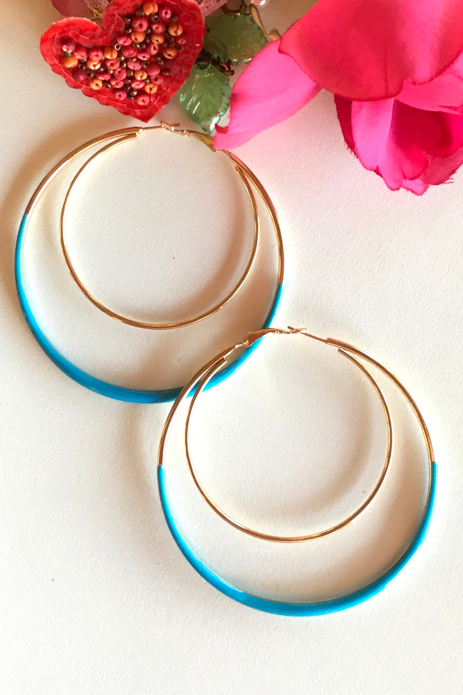 Earring Hoop Turquoise Large