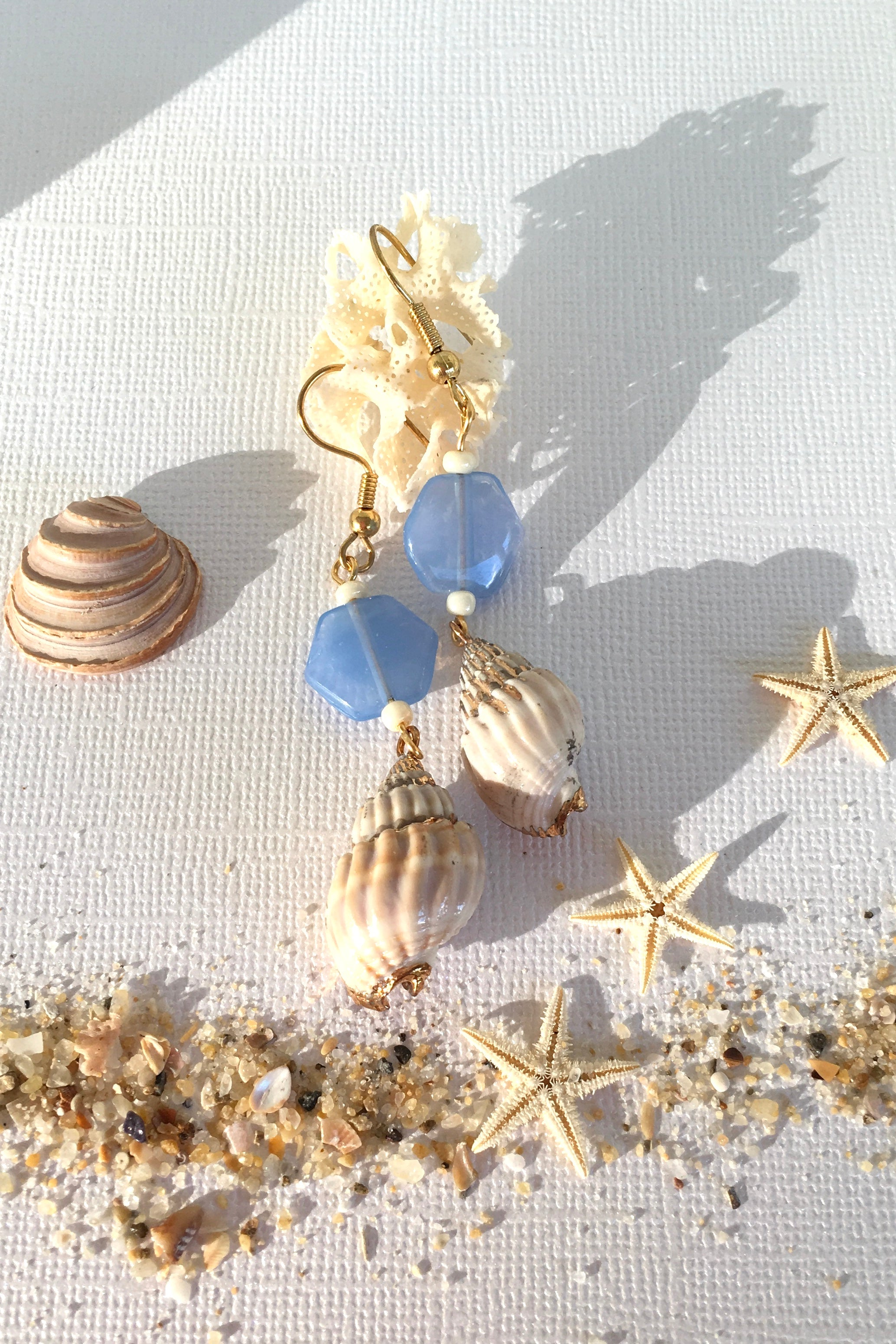 Earrings High Tide Seashell Blue Bead, summer sea shell earrings