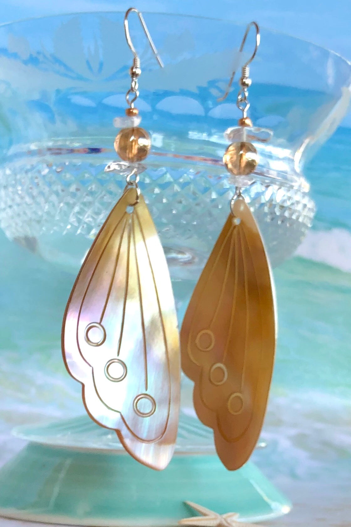 Earrings Serendipity Butterfly Wing Shell Pale Gold