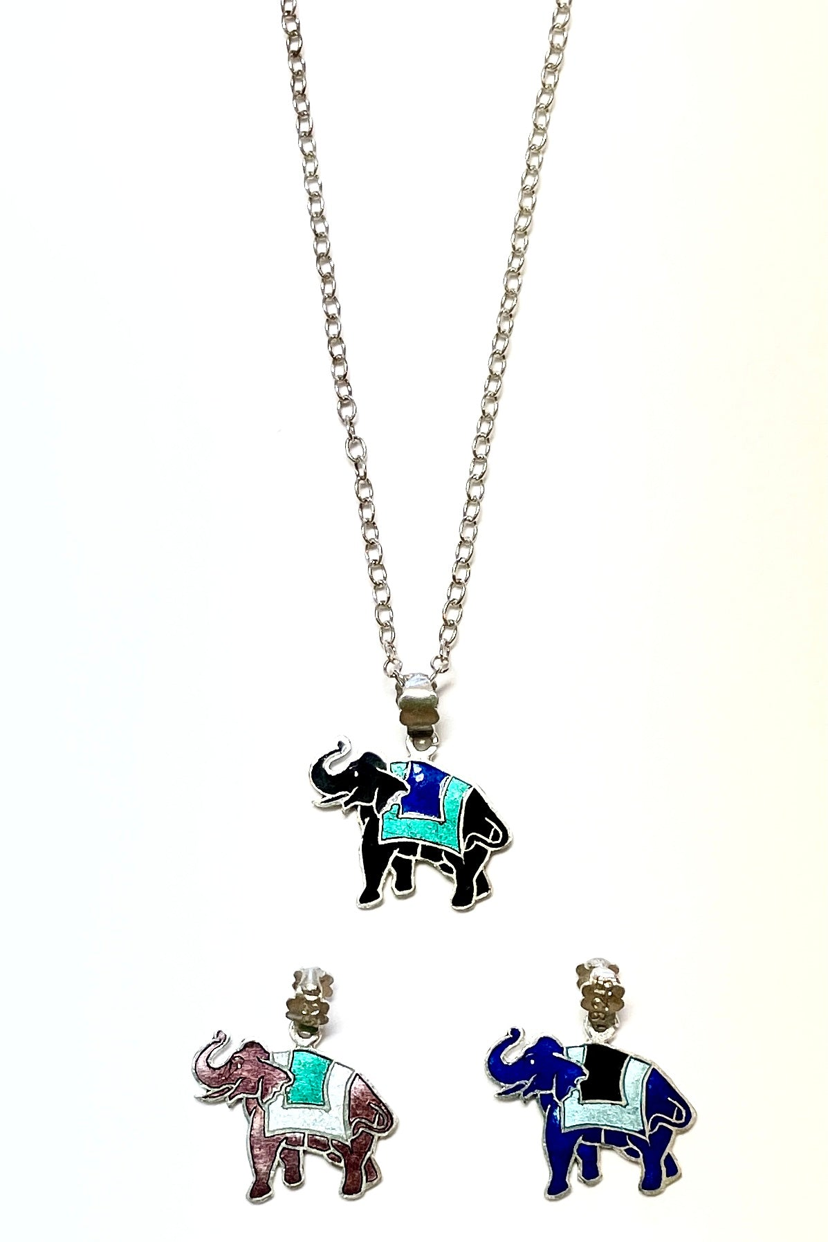 A happy colourful elephant pendant made of silver with bright enamel applied.