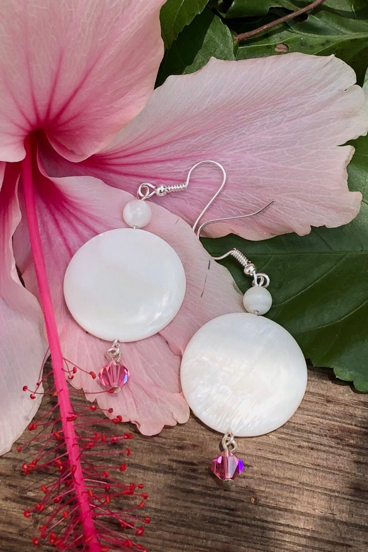 mother of pearl sea shell earrings