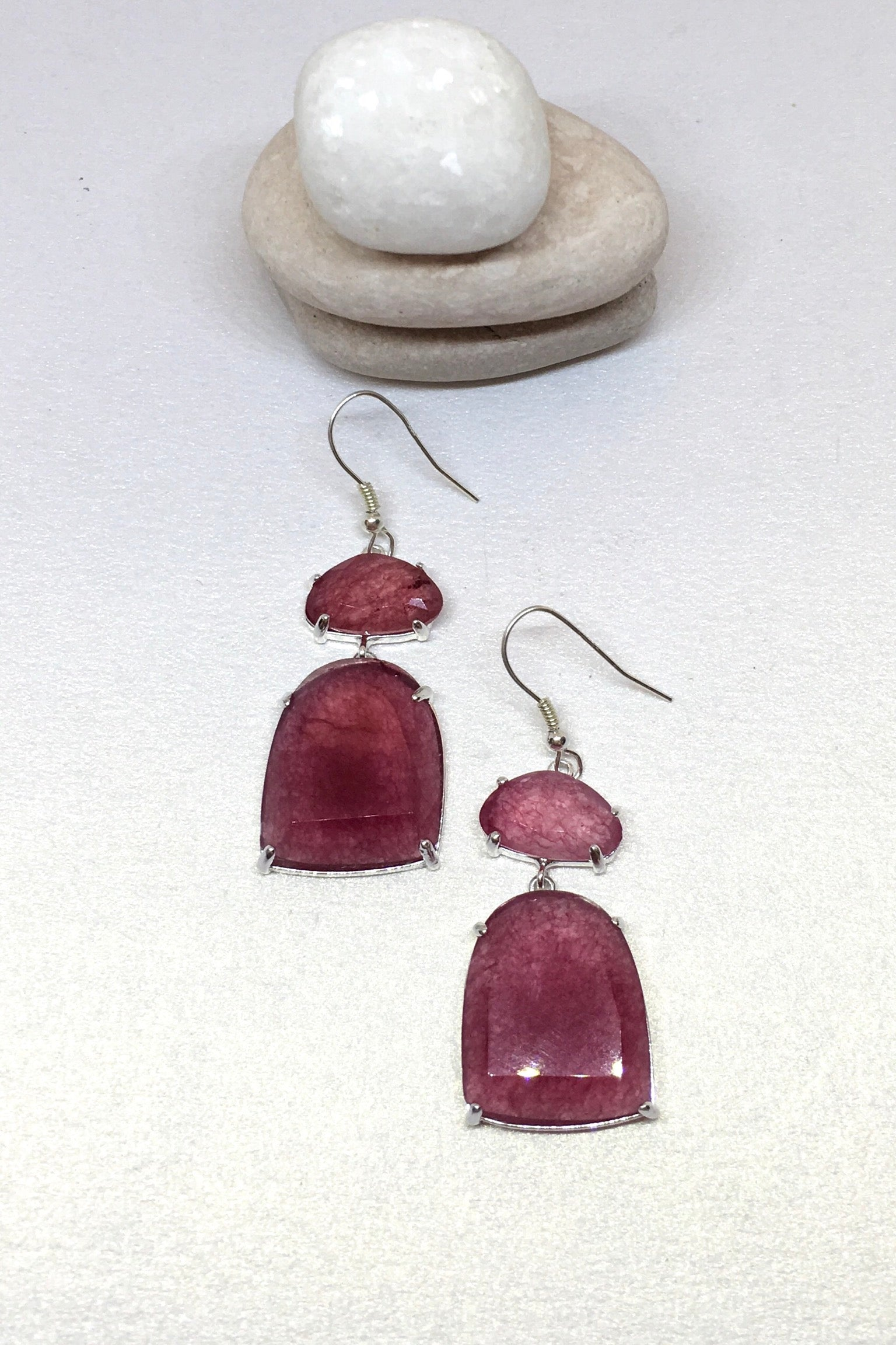 Coloured Quartz and Silver Earrings, Boho Style jewellery, colourful Drop Earrings in natural rock crystal