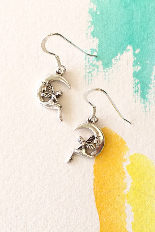 Earrings Silver Moon Fairy