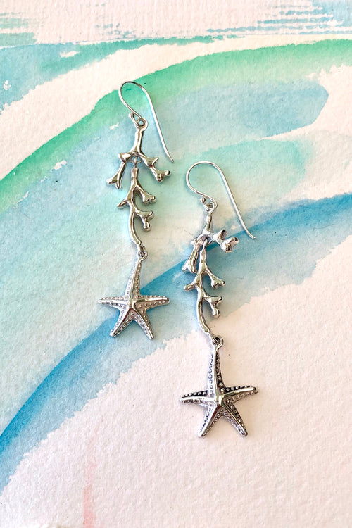 Oracle Silver Seas Earrings Coral and Starfish