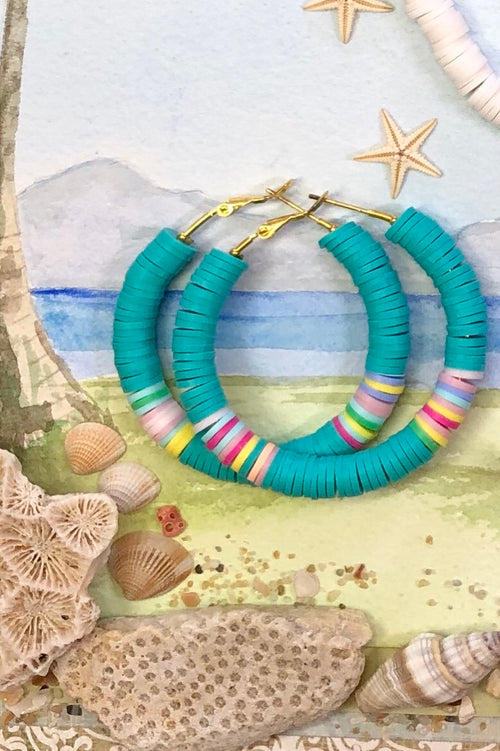 Earring Summer Hula Hoop Teal