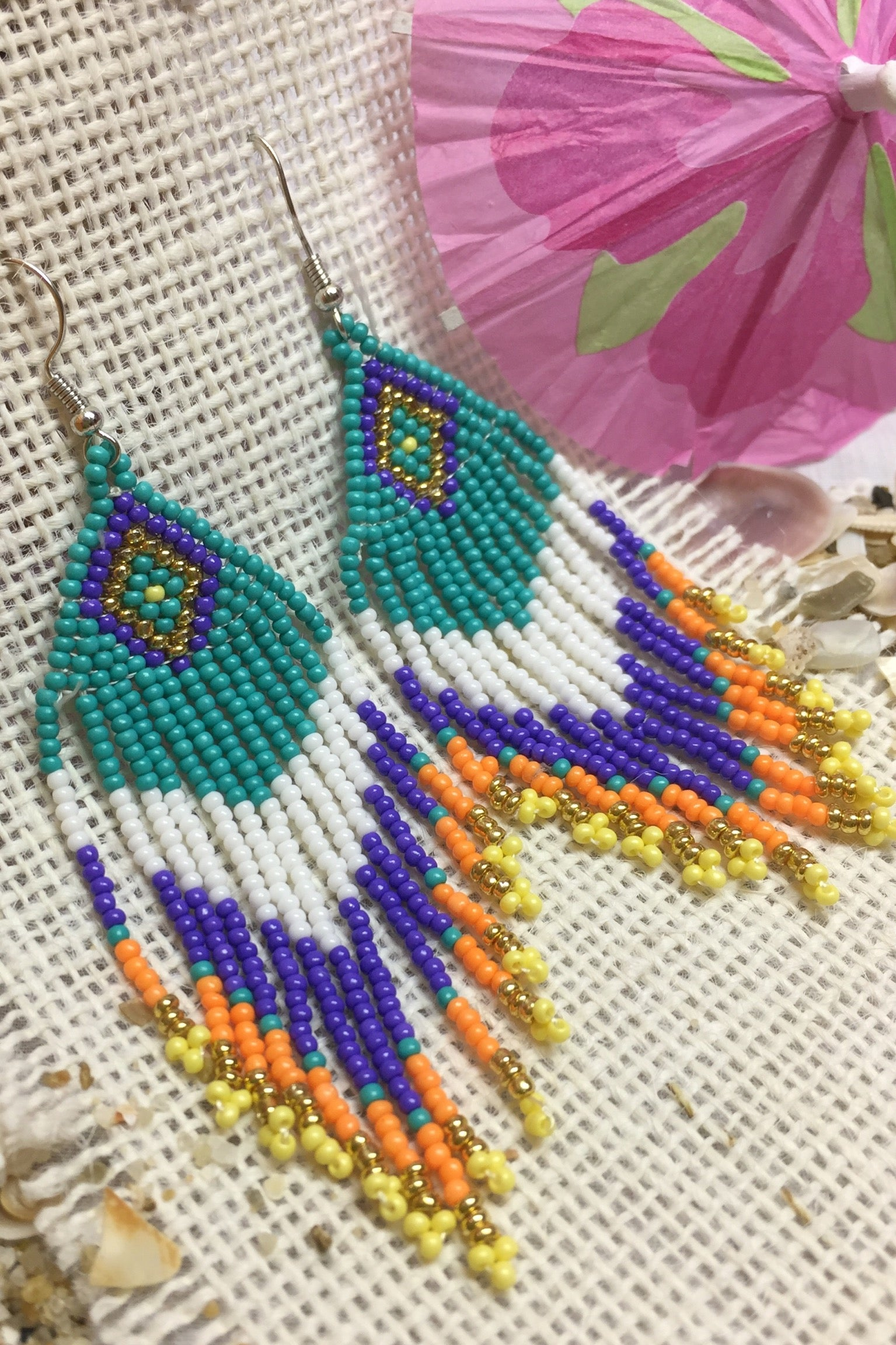 Earrings Rainbow Boho Seeds Tassels in Teal, seed bead tassel earrings, teal purple and white earrings, festival style jewellery, tassel earrings