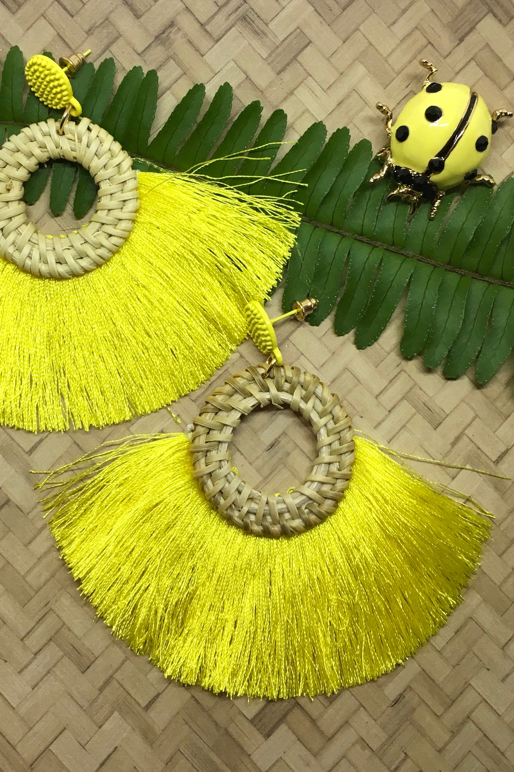 Earrings Rattan Circle with Yellow Tassels summer island style earrings
