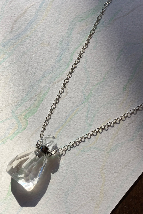 Pendant Crystal Bottle in Clear Quartz