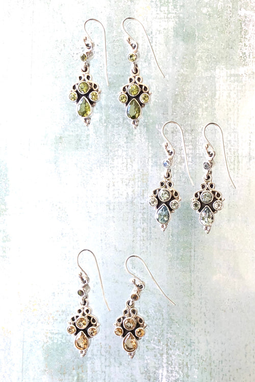 Oracle Earrings Gemstones Flora in Silver
