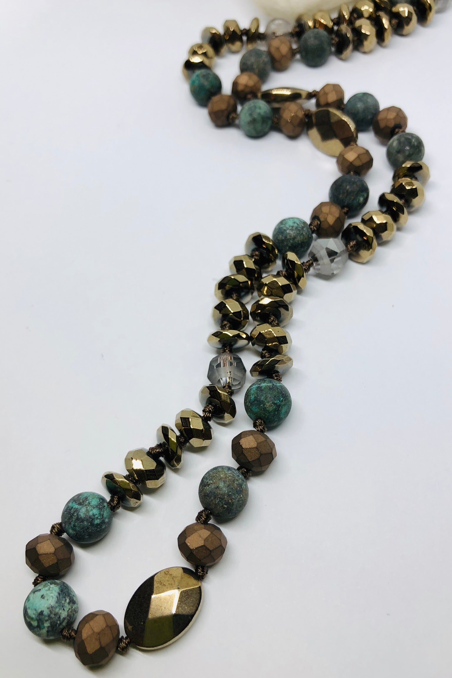 Necklace Geode Bronze Age,chic nature inspired long necklace