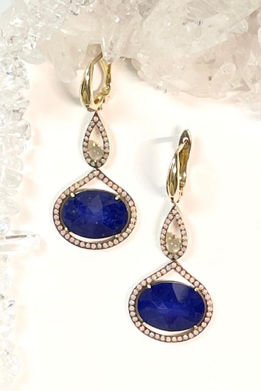 earrings are made from a faceted conceptual doublet made with a sliver of Lapis Lazuli gemstone with rock crystal applied to the top give depth and sparkle.