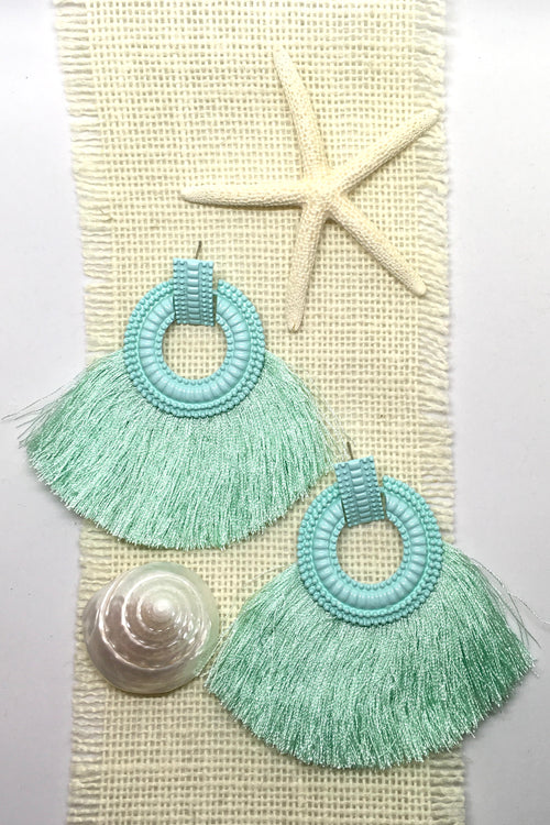 Earrings Adore with Mint Fringe