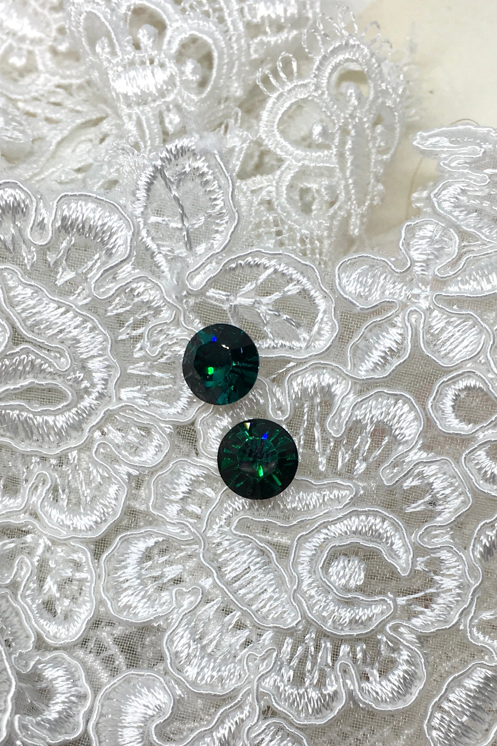 Earrings Crystal Stud, Swarovski Crystal sparkly stud earrings, in green and Montana Blue, wedding and bridesmaids style