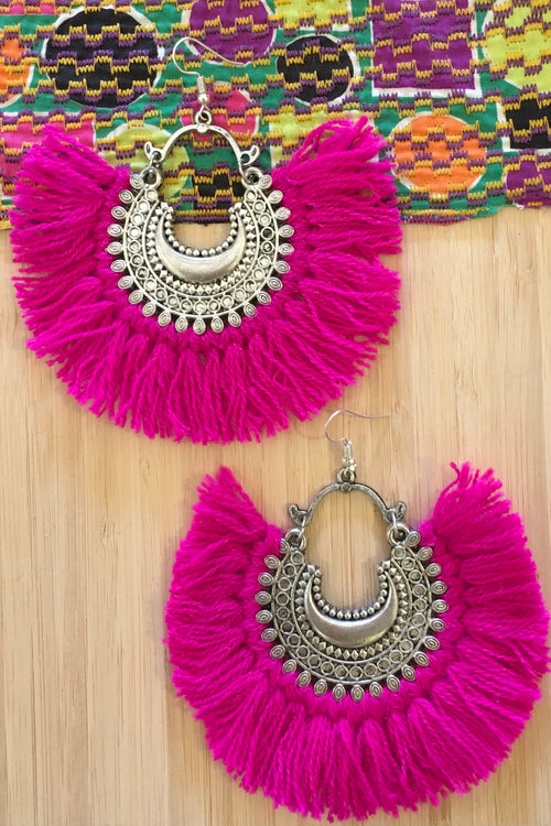 Earrings Gypsy Fiesta Cerise Pink