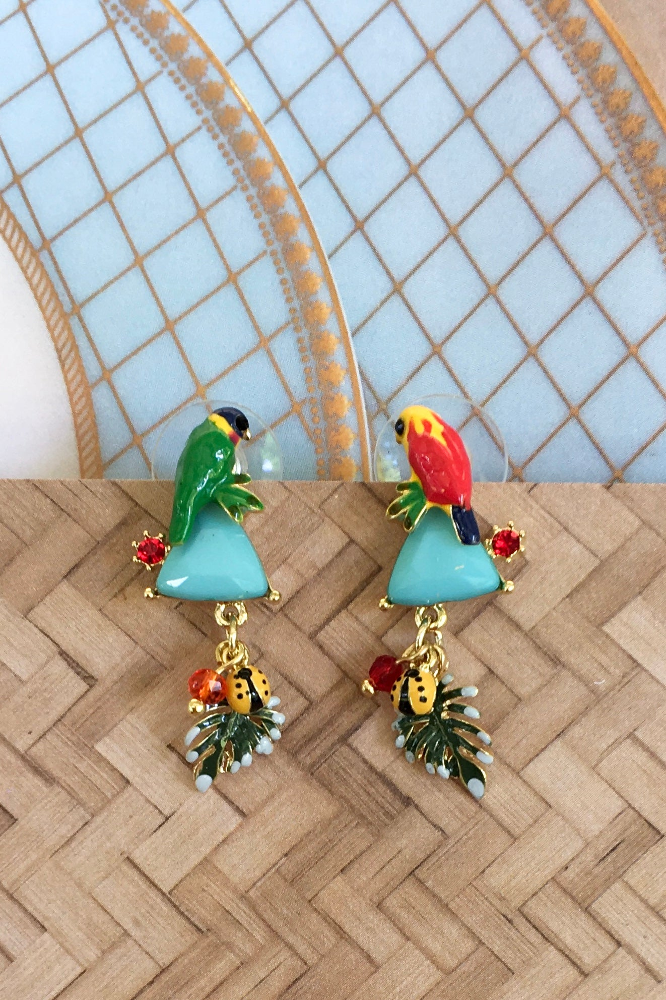 Earrings Secret Garden, enamel flower and bird earrings, bird style jewellery, garden style earrings for summer