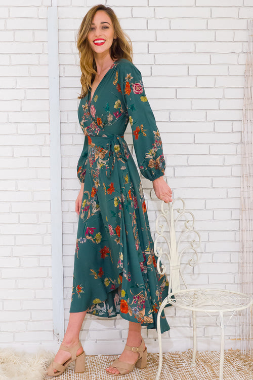 Daydreamer Green Maxi Wrap Dress
