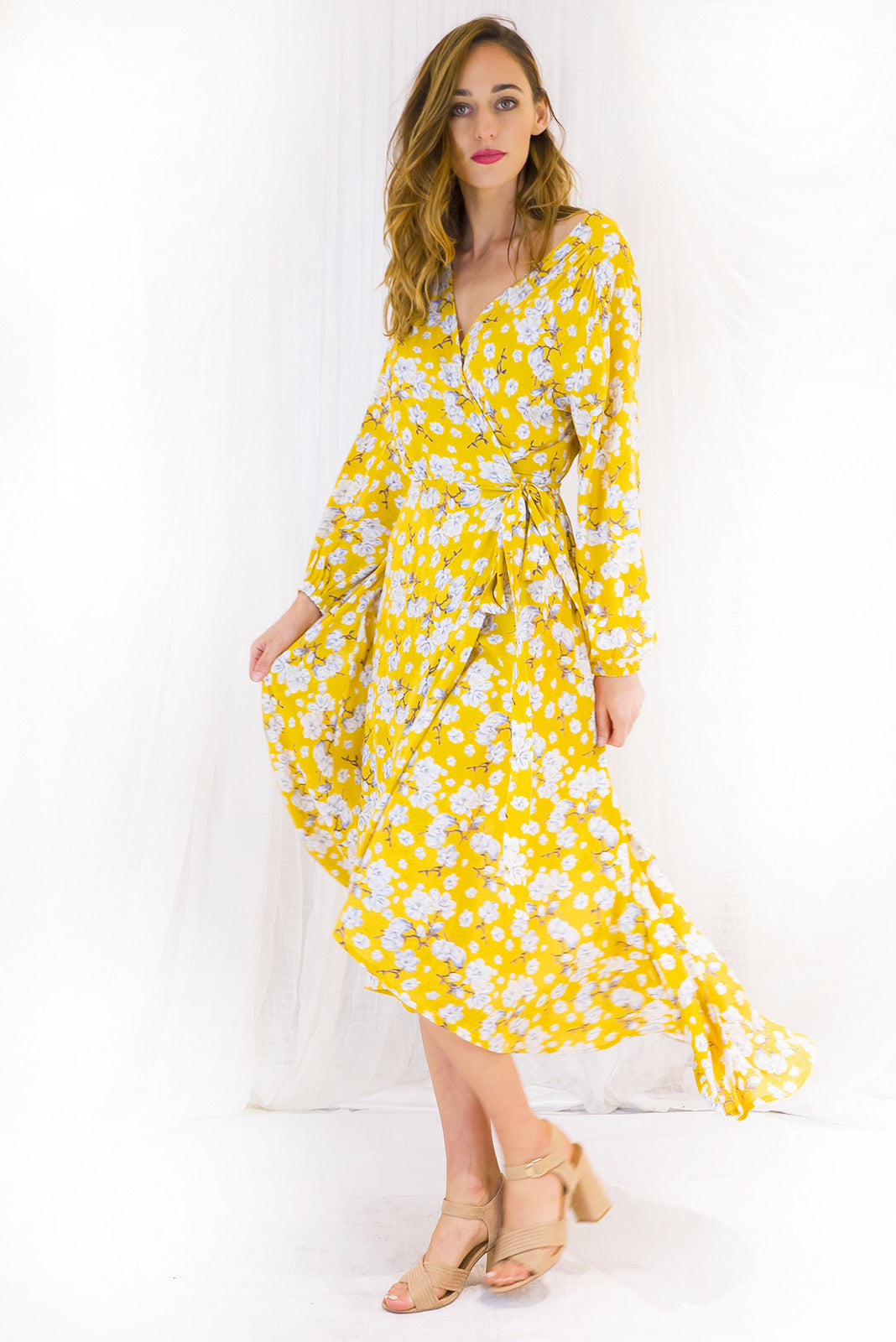Sunshine yellow long sleeved maxi wrap dress, cheesecloth wrap around maxi dress