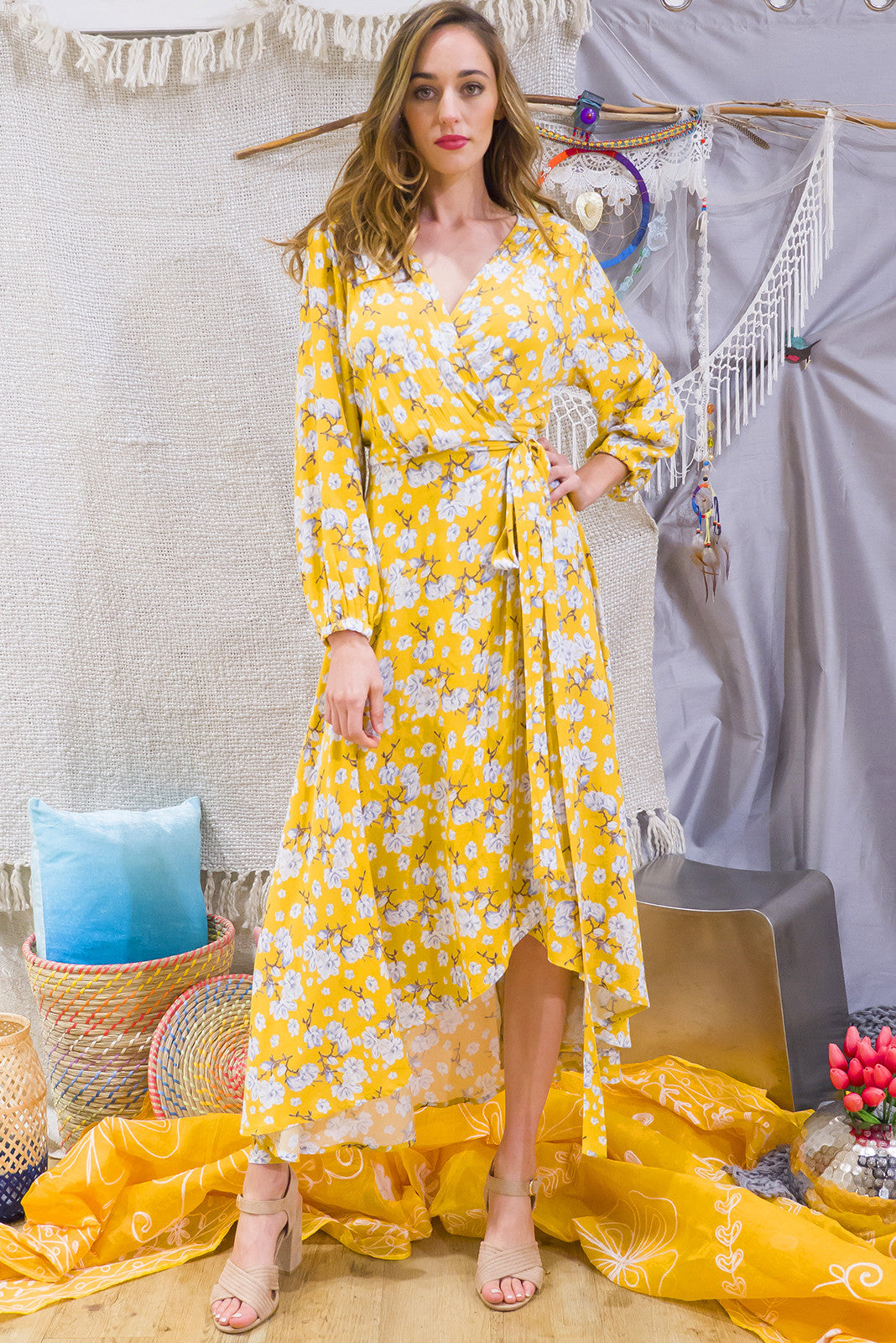 Sunshine yellow long sleeved maxi wrap dress,cheesecloth wrap around maxi dress