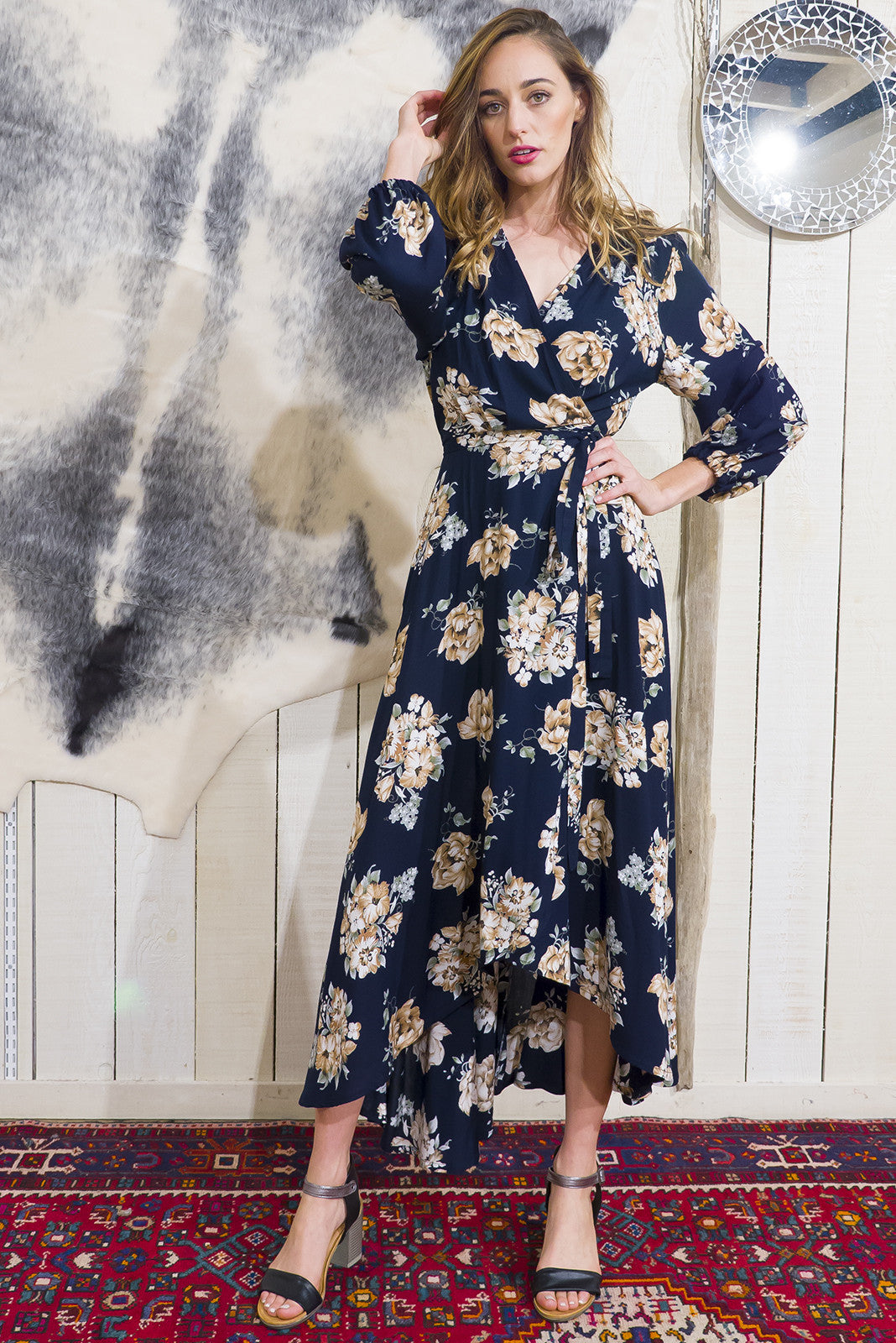 Daydreamer Antique Rose Navy Floral Maxi Wrap Dress