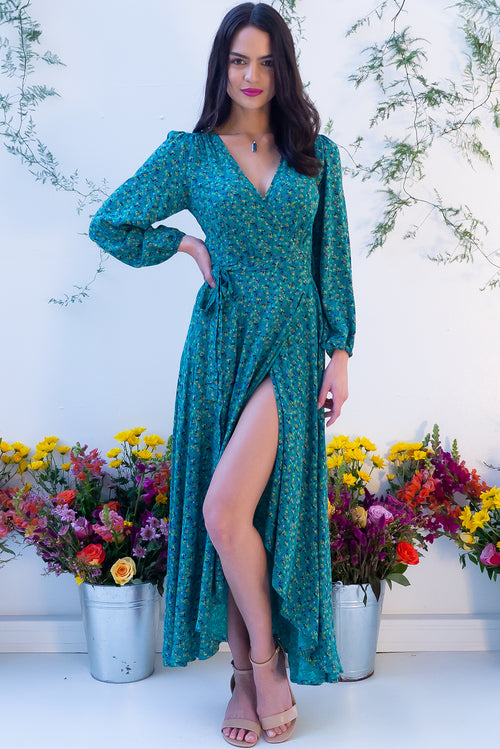 Daydreamer Azzuro Maxi Wrap Dress