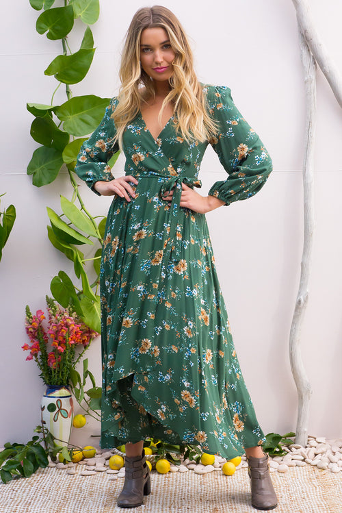 Daydreamer Green Graces Maxi Wrap Dress