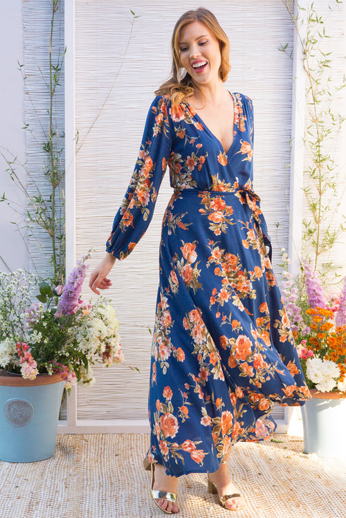 Daydreamer Navy Maxi Wrap Dress