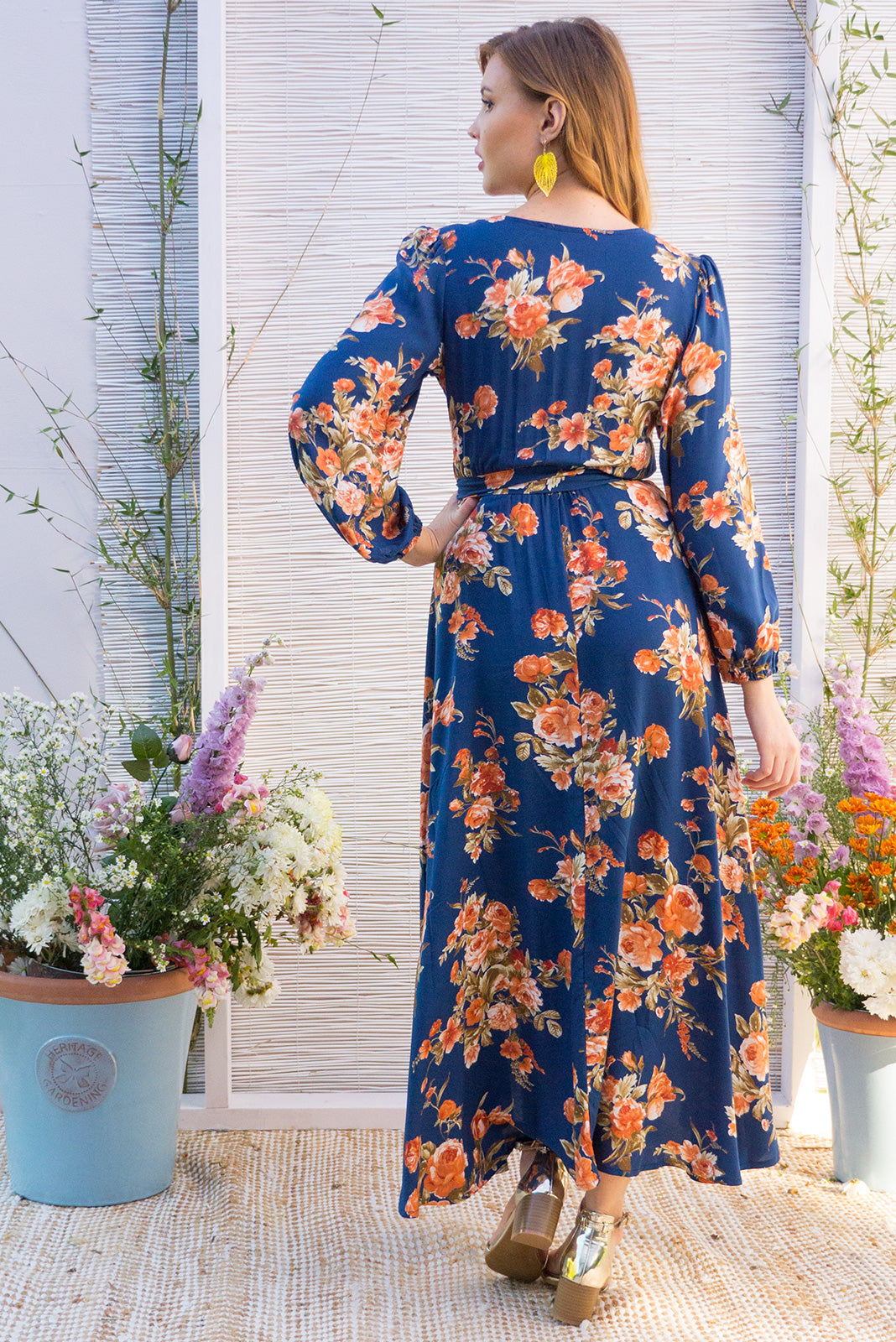 Daydreamer Navy  Maxi Wrap Dress with a full length sleeve in a wrap around style in a romantic vintage boho rose print in ochre on a navy on a soft woven rayon fabric