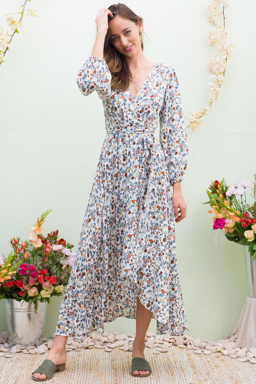 Daydreamer Paper Daisy Maxi Wrap Dress