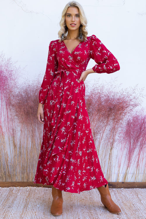 Daydreamer Rumi Red Wrap Dress